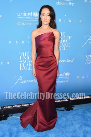 Maggie Q Burgundy Strapless Mermaid Prom Gown 12th Annual UNICEF Snowflake Ball 3