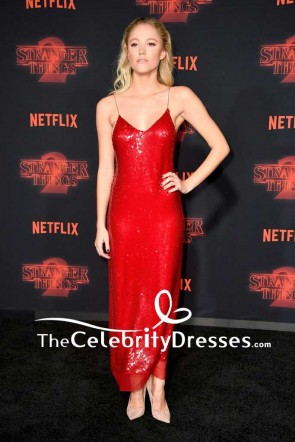 Maika Monroe Red Spaghetti Strap Backless Party Slip Dress Premiere of 'Stranger Things' Season 2