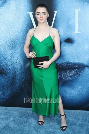 "Maisie Williams Hunter Halter Spaghetti Straps High Slit Party Dress premiere of HBO's ""Game Of Thrones"" season 7"