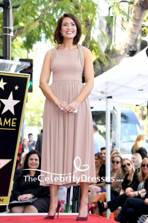 Mandy Moore Nude Tea A-line Midi Semi Formal Dress Hollywood Walk of Fame Ceremony TCD8357