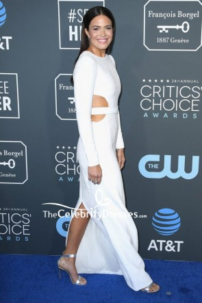 Mandy Moore White Sequined Cut Out Dress With Sleeves Critics' Choice Awards 2019 TCD8252