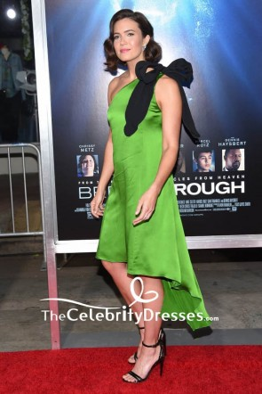 Mandy Moore Hunter Green One Shoulder High Low Cocktail Dress The Premiere of 'Breakthrough' TCD8384