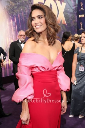 Mandy Moore Off Shoulder Slit Dress 2019 Emmy Awards  TCD8643