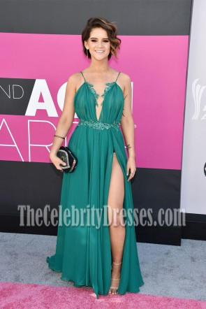 Maren Morris Green  High Slit Deep V Neckline Spaghetti Strap Evening Dress 2017 ACM Awards