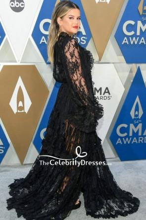 Maren Morris Black Sheer Lace Dress 2020 CMA Awards