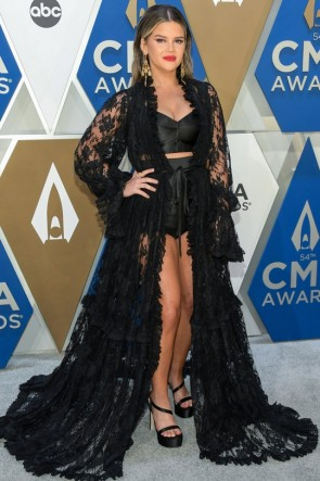 Maren Morris Black Sheer Lace Dress 2020 CMA Awards