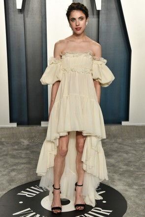 Margaret Qualley Champagne High Low Off Shoulder Evening Dress