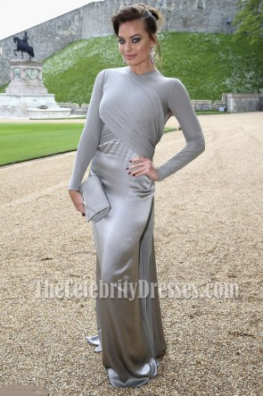 Margot Robbie Grey Long Sleeves Backless Evening Prom Gown The Duchess Of Bay Ridge