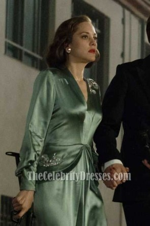 Marion Cotillard Mint Embroidered Evening Dress With Long Sleeves In Movie Allied