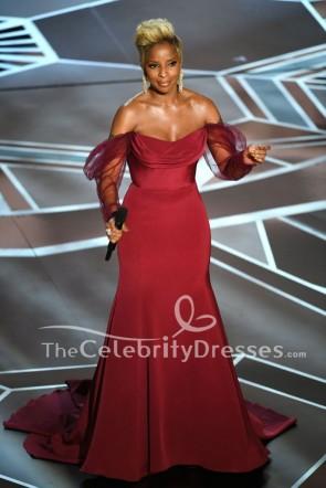 Mary J. Blige robe de soirée Bourgogne 2018 Oscars Performance