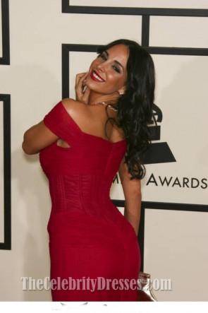 Mayra Veronica Robe de bal rouge à épaules dénudées Grammy Awards 2008