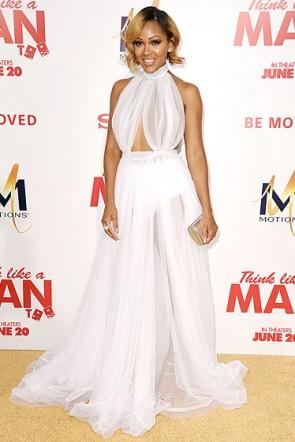 Meagan Good See Through Prom Dress 'Think Like A Man Too' LA Premiere