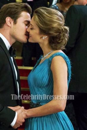 Megan Morrison magnifique robe de soirée en fente bleue film The Arrangement Gown
