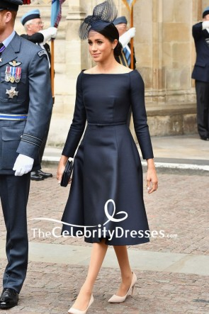 Meghan Markle Black Little Cocktail Dress With Long Sleeves RAF Centenary Event