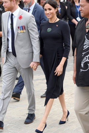 Meghan Markle Black Midi Dress With Sleeves