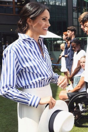 Meghan Markle Blue And White Striped Shirt Wimbledon 2018
