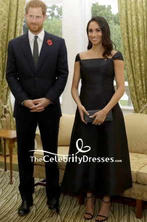 Meghan Markle Chic Black Tea Length Dress  visiting Government House