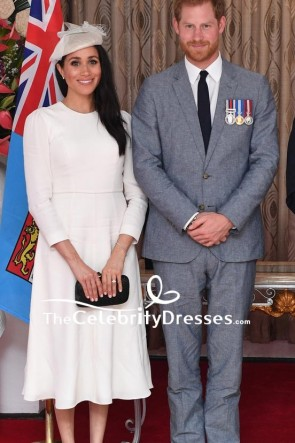 Meghan Markle White Midi Dress With Long Sleeves In Fiji