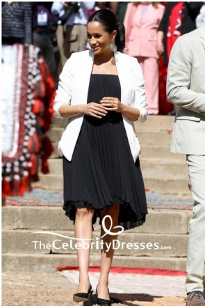 Meghan Markle Strapless Black Little Pleated Dress Visiting Andalusian Gardens