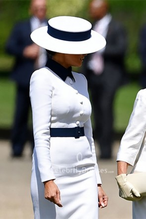 Melania Trump White Belt Collar Long Sleeves Dress
