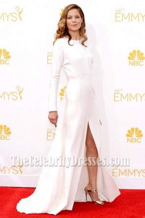 Michelle Monaghan White Long Sleeves Evening Dress 2014 Emmy Awards 4