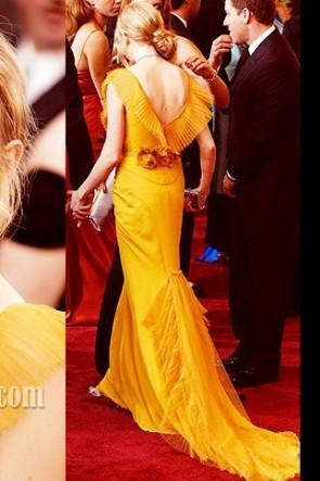 Michelle Williams jaune robe de bal robe formelle tapis rouge Oscar