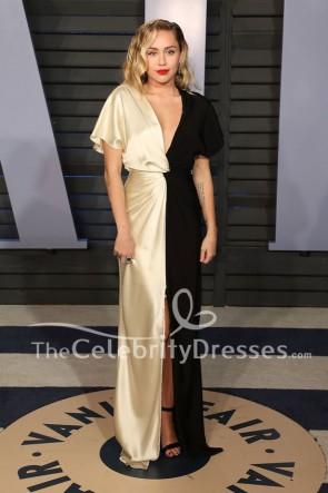 Miley Cyrus Ivoire et noir robe de soirée 2018 Vanity Fair Oscar robe de soirée