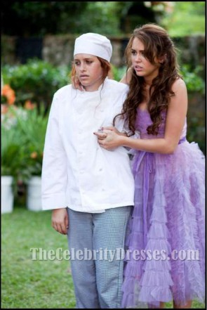 Miley Cyrus robe violette de la dernière chanson sans bretelles robe de bal