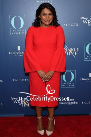 Mindy Kaling Red Cocktail Dress With Long Sleeves NYC screening of A Wrinkle in Time