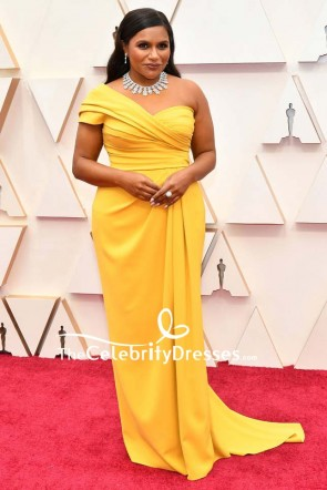 Mindy Kaling Yellow One-shoulder Formal Dress 2020 Oscars TCD8848
