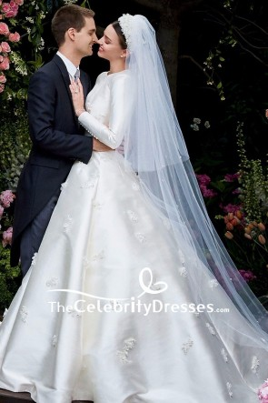 Miranda Kerr Ivory Embroidered Wedding Dress With Long Sleeves Ball Gown