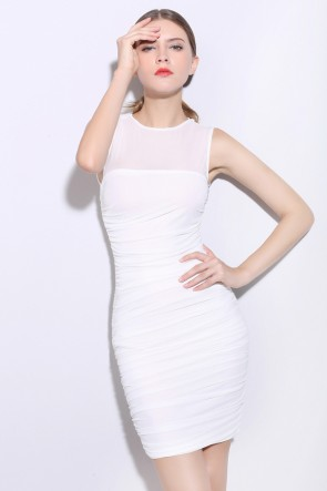 Short White Sleeveless Party Cocktail Dresses TCDMU0048