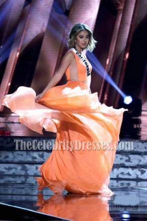 Robe de Soirée en Mousseline de Soie Nadia Mejia Orange MISS USA CONTESTANTS