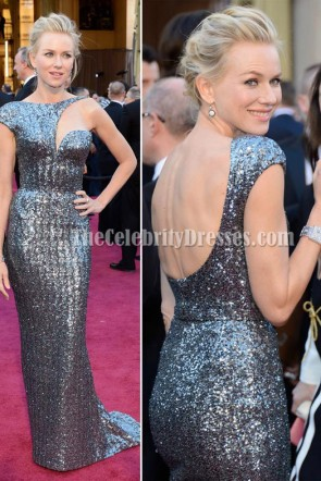 Naomi Watts Gray Sequins Formal Dress 2013 Oscar Awards Red Carpet