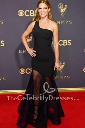 Natalie Morales Black One-shoulder Tulle Evening Prom Dress Emmy Awards 2017 Red Carpet