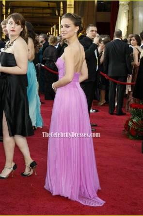 Natalie Portman Robe Rouge Chaude Sans Manches Tapis Rouge 2009 Oscars
