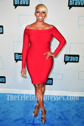 Nene Leakes Red Bandage Dress Christian Louboutin 20th Anniversary Isolde Pumps
