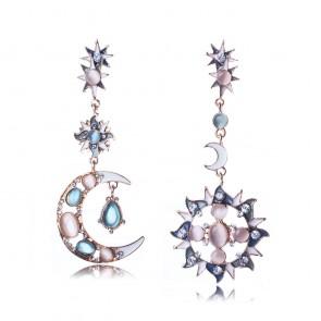 New Arrival Asymmetrical Sun and Moon Drop Earrings TCDE0055