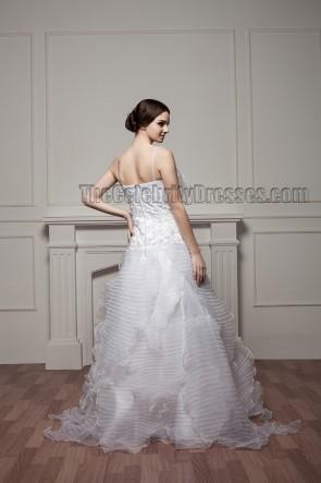 New Design Spaghetti A-Line Ruffles Floor Length Wedding Dress