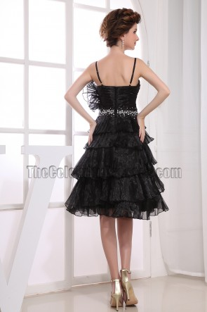 Beaded A-Line Black Graduation Cocktail Dresses