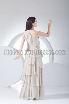 Elegant Silver One Shoulder Evening Dresses Prom Gown