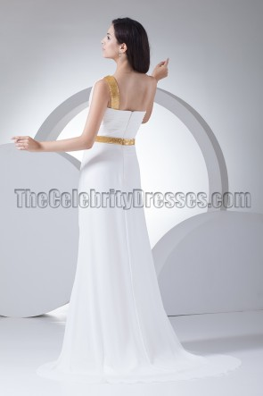 White One Shoulder Sequined Evening Dress Formal Gown