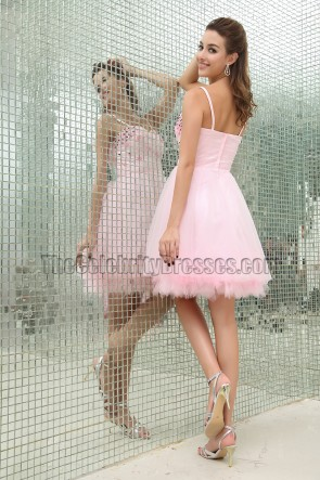 Gorgeous Pink Beaded Party Homecoming Dresses