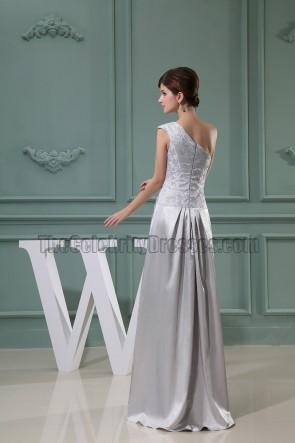 Silver Floor Length One Shoulder Prom Dress Formal Evening Dresses