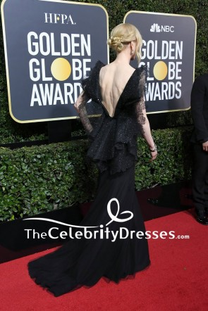 Nicole Kidman dentelle noire perles robe de soirée formelle de luxe Golden Globes 2018 tapis rouge