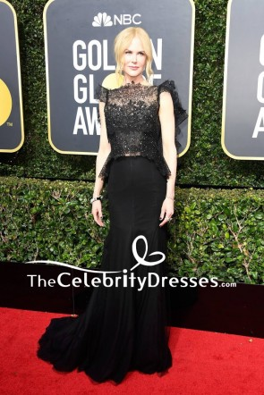 Nicole Kidman Black Lace Beads Luxury Formal Evening Dress Golden Globes 2018 Red Carpet