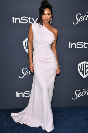 Nicole Scherzinger White One-shoulder Evening Dress