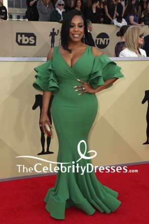 Niecy Nash Green Mermaid Deep V-neck Evening Dress 2018 SAG Awards Red Carpet Gown