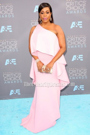Niecy Nash Pink One Shoulder Evening Prom Gown  21st Annual Critics' Choice Awards 4