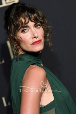 Nikki Reed Dark Green Cutout Dress 2019 Elle Women TCD8691